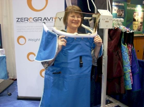 Radiologic Technology student (Barb Geiger) demonstrating the Zero Gravity Radiation Protection System during a class trip to the RSNA in Chicago, IL November 30th, 2009.