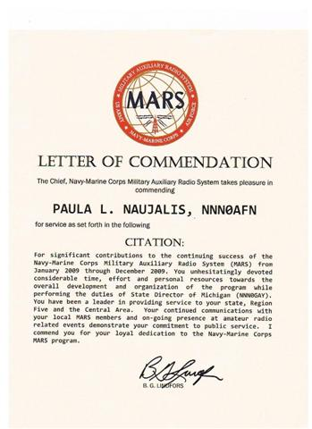 Commendation for Paula Naujalis