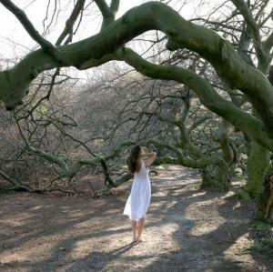 A barefoot woman in a white dress stands, her back toward us, on dirt under a big, gnarled tree branch.