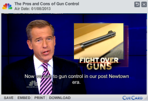 """A man with a dark suit, white shirt and purple striped tie faces the camera. The words: """"Pros and Cons of Gun Control. Air Date: 01/08/13"""" appear above his head in a gray rectangle. A picture of the barrel of a shotgun and the words """"Fight over Guns"""" appears over his left shoulder. The words: """"Now we turn to gun control in our post Newtown era"""" appear in white under him."""