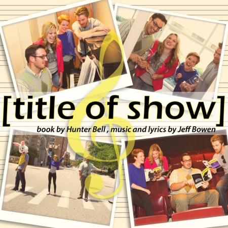 "The words ""[title of show]book by Hunter Bell , music and lyrics by Jeff Bowen"" are in the middle surrounded by four photos. The first, on the upper left, shows a man with a beard and glasses, wearing a green argyle sweater vest, seated at a piano. A blond woman wearing a red jacket and gray T-shirt, leans over his left shoulder. Next to her is a woman with short red hair wearing a purple shirt. A man with blond hair and a beard leans on the piano. The second photo, upper right, shows a man with a beard and glasses, wearing a green argyle sweater vest, holding a glass plaque with white etching on it. Next to him is a blond woman wearing a red jacket and gray T-shirt, also holding a glass plaque with etching. Next to her is a woman with short red hair and a purple shirt. A man with blond hair and a beard is next to her; he holds a glass plaque too. The third photo, lower left, shows a man in a purple T-shirt, wearing a giant white rabbit head, standing on a crosswalk in the middle of an empty street. Next to him is a woman with short red  hair and a purple shirt; she is throwing her arms in the air. Next to her is a man with a beard and glasses, wearing a green argyle sweater vest; he has his left arm thrown out to the side. The fourth photo, lower right,  shows six rows of red theater seats. A woman with short red hair and a purple shirt sits at the far left, holding a booklet saying ""Playbill"" in her left hand. Next to her, a woman with blond hair and wearing a red jacket looks down at the booklet she holds in both hands. Next to her is a man with a beard and glasses, wearing a green argyle sweater vest, holding a booklet saying ""Playbill"" in his left hand and pointing at it with is right. Next to him is a blond man with a beard holding a booklet that says ""Playbill"" with his right hand."
