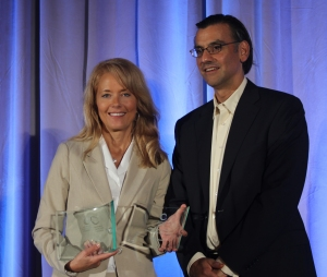 Cheryl Kautz with Jay Bhatt, president and CEO of Blackboard Inc.