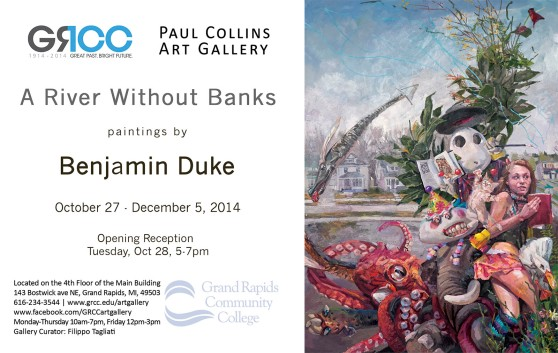 """The Paul Collins Art Gallery will be hosting the opening reception of """"A River Without Banks,"""" paintings by Benjamin Duke, tonight from 5-7 p.m. The collection will be shown from Oct. 27 to Dec. 5. The gallery is located on the 4th floor of the Main Building, and is open from Monday-Thursday from 10 a.m. - 7 p.m. and Friday from 12-3 p.m."""