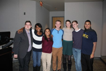 From left: Ross Pike, MFCD Secretary; Natasha Mckenzie, President of College Democrats of America; Brittany Hall, Vice-President GRCC Chapter; Daniel Eggerding, President GRCC Chapter; Arianna Skentzos, Coordinator of Membership GRCC Chapter; Taylor Haan, Events Coordinator GRCC Chapter; and Sam Jones-Darling, general member GRCC Chapter.