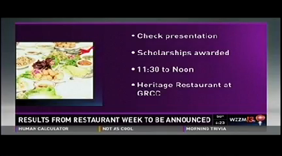 A television screen shows a photo of food on plates and says: Check presentation. Scholarships awarded. 11:30 to Noon. Heritage Restaurant at GRCC. Results frmo Restaurant Week to be announced.