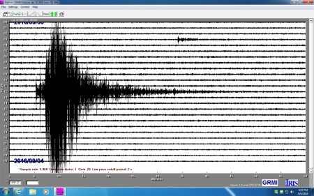 A seismometer shows an earthquake.