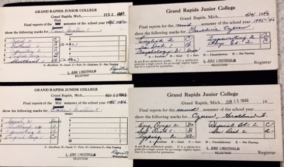Geraldine Czerow's four report cards for the four semesters of 1945-46.