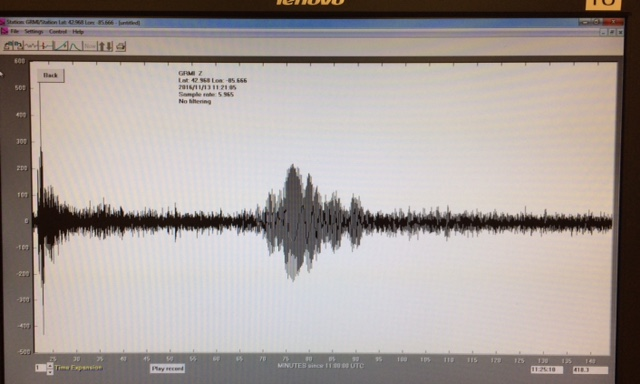 Surface waves from the New Zealand earthquake, recorded on the GRCC seismometer.