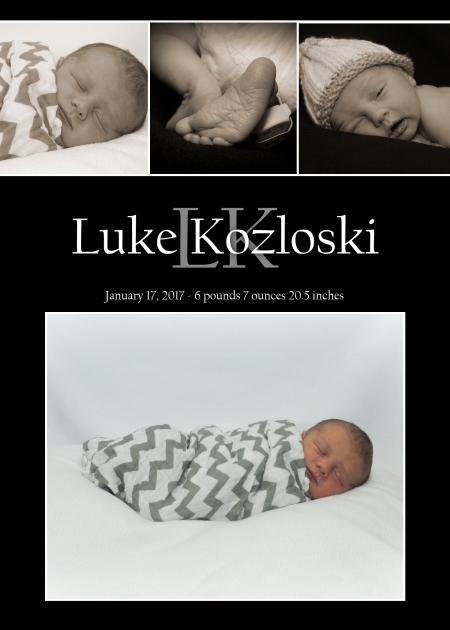 Luke Kozloski. January 17, 2017. 6 pounds, 7 ounces. 20.5 inches.