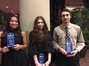 Michelle Brown, Kie Bachman and Alex Antonakis hold their Physical Sciences awards.