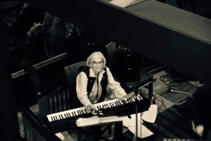 Robin Connell sits at a keyboard.