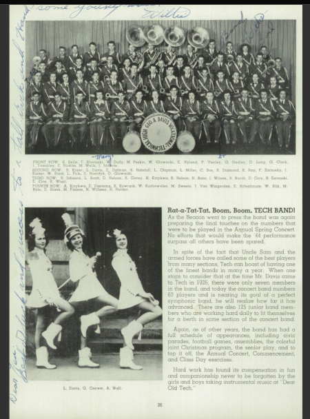 "A page of an old Davis Technical High School yearbook shows photos of the marching band and the three majorettes. The headline reads: ""Rat-a-Tat-Tat, Boom, Boom, Tech Band!"""