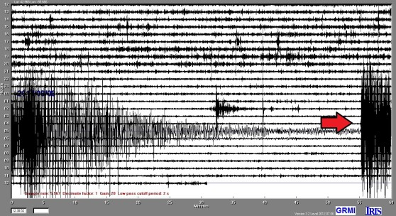 A red arrow on a seismometer reading shows when an earthquake occurred in Mexico.