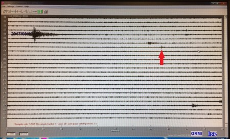 A red arrow points out the moment an explosion in North Korea was recorded on GRCC's seismometer.