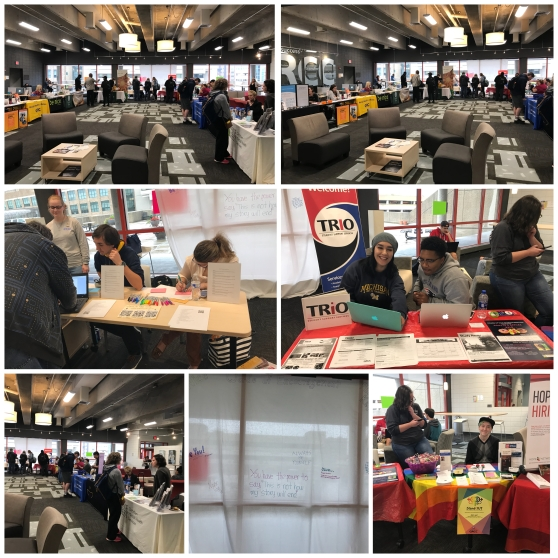 """A photo collage shows, clockwise from left: People look at information tables set up in the Student Lounge; two students sit at the TRIO table; two students staff the StandOUT table; messages on a whiteboard say, """"Always be yourself,"""" and """"You have the poser to say, 'This is not how my story will end'""""; students check out the information tables; students color at tables."""
