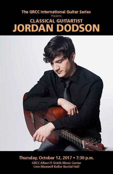 The GRCC International Guitar Series presents classical guitarist Jordan Dodson. Thursday, October 12, 2017, 7:30 p.m. GRCC Albert P. Smith Music Center Linn Maxwell Keller Recital Hall.