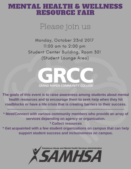 A flier for the GRCC Mental Health & Wellness Resource Fair