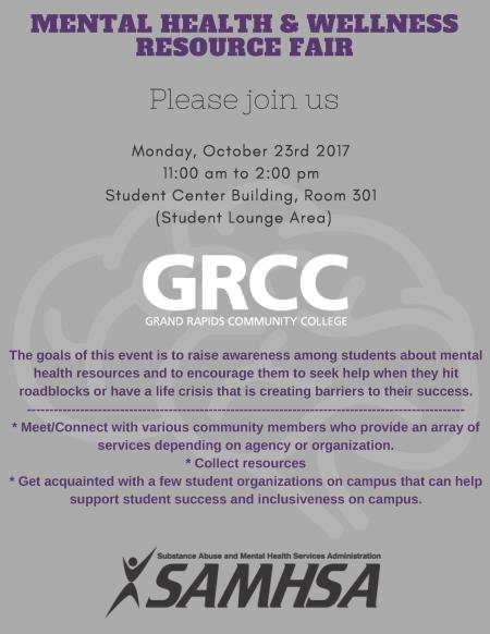 A flier for the GRCC Mental Health & Wellness Resource Fair