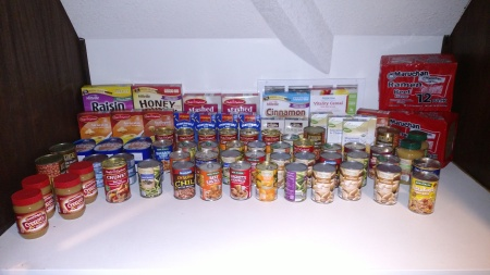 Food pantry items include jars of peanut butter, soups, Ramen noodles, cereal, instant mashed potatoes, macaroni and cheese, and cereals.