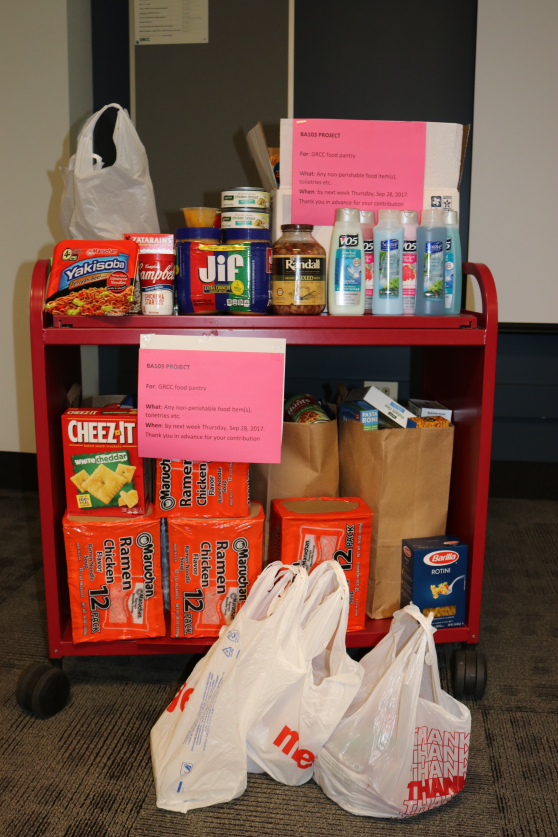 A photo of Professor M. Righa's Introduction to Business class' donation to the GRCC food pantries