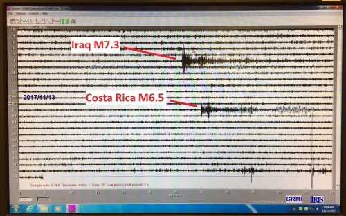 A reading from a seismometer shows an Iraq earthquake registering at magnitude 7.3 and a Costa Rica earthquake at magnitude 6.5.