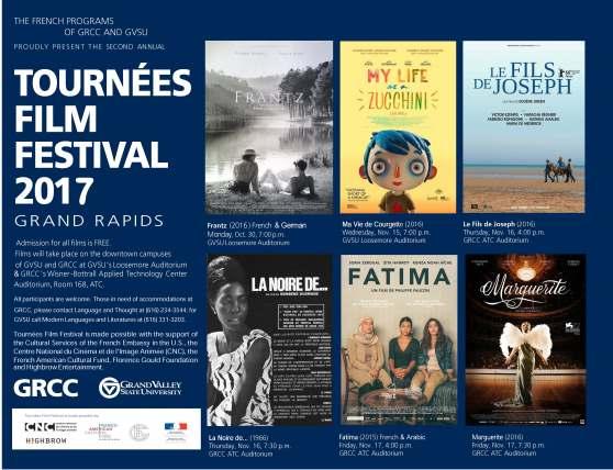 """Tournées Film Festival 2017; Film Schedule: * """"Frantz"""" (2016) Monday, Oct. 30, at 7 p.m. - Loosemore Auditorium, GVSU * """"Ma Vie de Courgette"""" (2016) Wednesday, Nov. 15, at 7 p.m. - Loosemore Auditorium, GVSU * """"Le Fils de Joseph"""" (2016) Thursday, Nov. 16, at 4 p.m. - ATC Auditorium, GRCC * """"La Noir de …"""" (1966) Thursday, Nov. 16, at 7:30 p.m. - ATC Auditorium, GRCC * """"L'Avenir"""" (2015) Friday, Nov. 17, at 4 p.m. - ATC Auditorium, GRCC * """"Marguerite"""" (2016) Friday, Nov. 17, at 7:30 p.m. - ATC Auditorium, GRCC"""