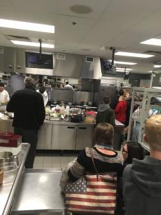Kent City High School students tour the Secchia kitchen.