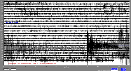 A readout of GRCC seismometer shows the Alaska earthquake.