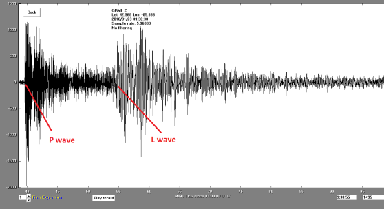 A readout from the GRCC seismometer shows the P and L waves from the Alaska earthquake.