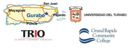 Four images in one graphic; clockwise from top left: map of Puerto Rico; crest of Universidad del Turabo; Grand Rapids Community College logo; and TRIO Student Support Services logo