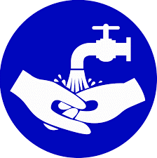 An illustration of someone washing their hands.