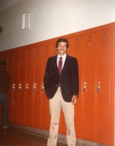 Bernie Manker stands by lockers.