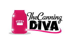 "Logo, text reads ""The Canning Diva"" in black. To the left, there is a hot pink jar with a white crown on it."