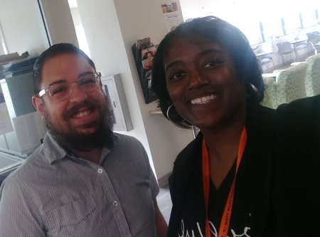 Adjunct professor Shanda Vaughn posing with Mr. Matt