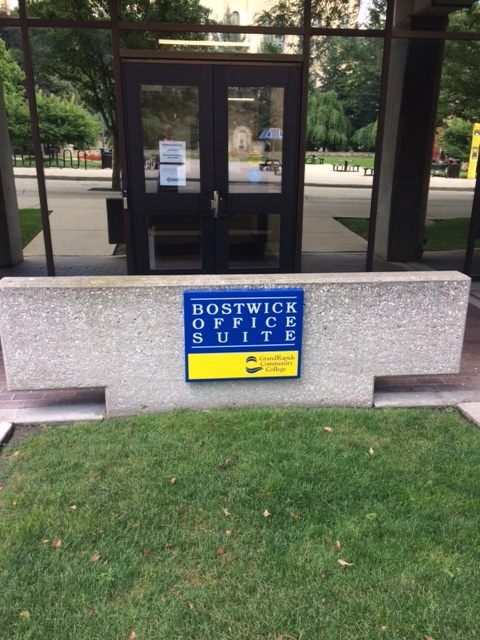 Bostwick Office Suite sign on the GRCC main campus