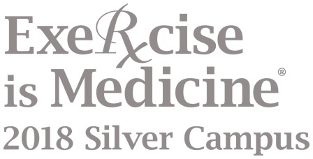 "White logo with grey text; text reads ""Exercise is Medicine 2018 Silver Campus"""