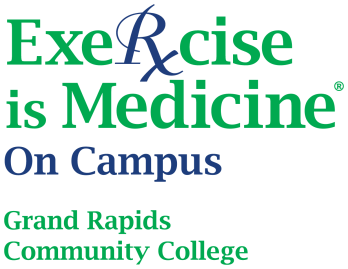 "White logo with kelly green and denim blue; logo reads, ""Exercise is Medicine On Campus Grand Rapids Community College"""