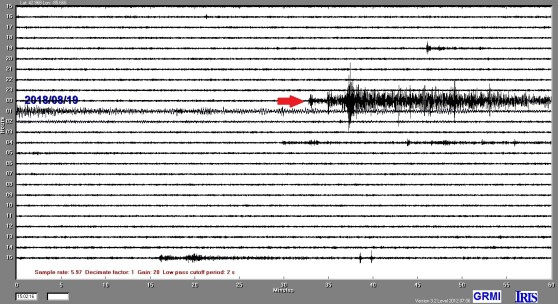 Display of the GRMI seismogram reading of the M8.2 Fiji earthquake; a red arrow marks its beginning