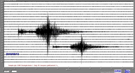Image of the seismometer recording of two earthquakes on August 12 from northern Alaska.