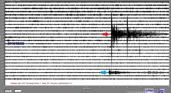 Display of the GRMI seismogram reading of the M7.3 Venezuela earthquake, marked with a red arrow, and the M6.2 Oregon earthquake, marked with a blue arrow