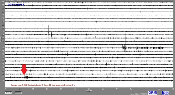 Image of the seismometer recording of the August 15 earthquake near the Aleutian Islands.