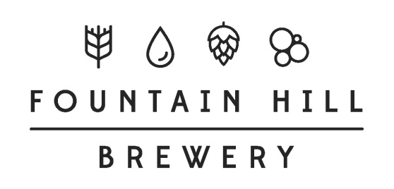 Logo for the GRCC Fountain Hill Brewery. Logo features stylized images of grain, water, hops, and bubbles