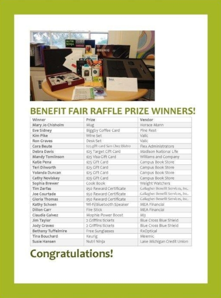 Image of the prizes from the 2018 benefits fair.