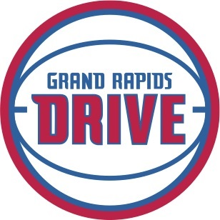 Logo for the Grand Rapids Drive basketball team. The team name is colored red and blue with a blue basketball graphic wrapped around the text and a red circle surrounding the image.