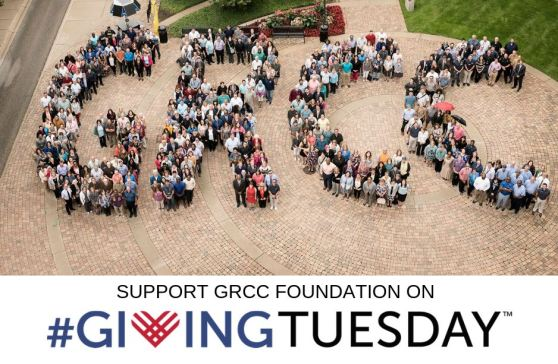 "An image of GRCC faculty and staff spelling out the letters ""GRCC"" in the student plaza.  Underneath the image is text that reads, ""Support GRCC Foundation on #GivingTuesday."""