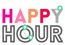 "Graphic that says ""Happy Hour"" in a mix of decorative fonts and colors."