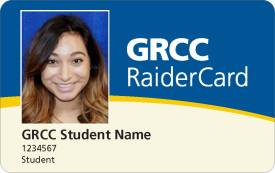 "Digital rendering of new GRCC Raider Card design. Image show the front of the card, with sections of blue, gold, and cream, and the words ""GRCC RaiderCard."" There is also a sample student photo with the words ""GRCC Student Name. `1234567. Student."""