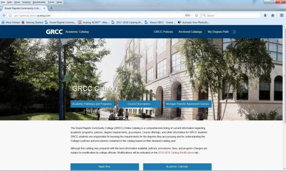 Mock-up of the landing page of the new GRCC Catalog online.