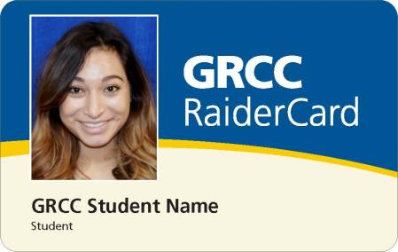 "Digital rendering of new GRCC Raider Card design. Image show the front of the card, with sections of blue, gold, and cream, and the words ""GRCC RaiderCard."" There is also a sample student photo with the words ""GRCC Student Name. Student"" underneath."