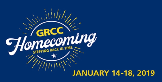 "Homecoming graphic in white and gold on a dark blue background. The text reads: ""GRCC Homecoming. Stepping Back In Time. January 14-18, 2019."""